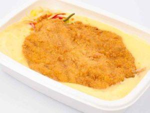 Piept de curcan in pane de alune cartofi piure M